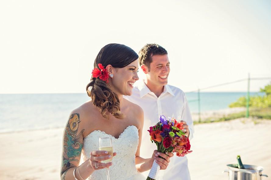 bride celebrates after cozumel wedding